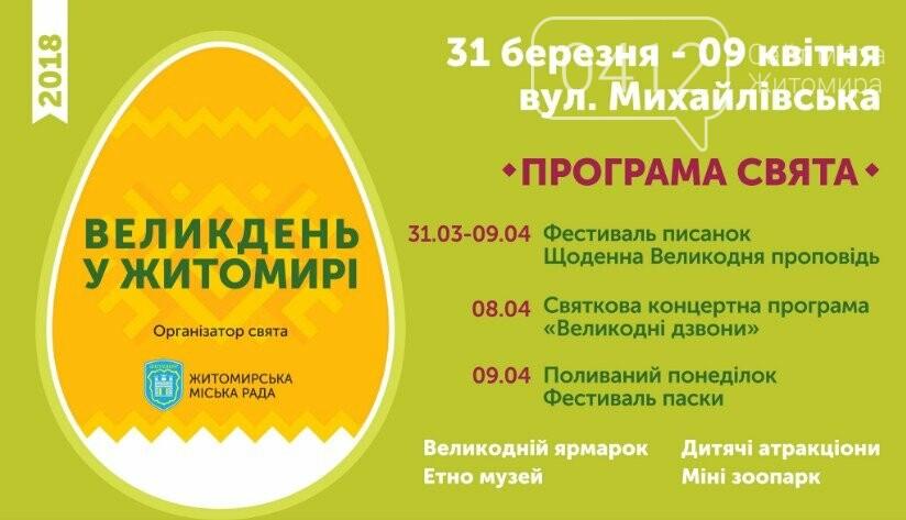 Великдень у Житомирі: на Михайлівській пройде загальноміське святкування, фото-1