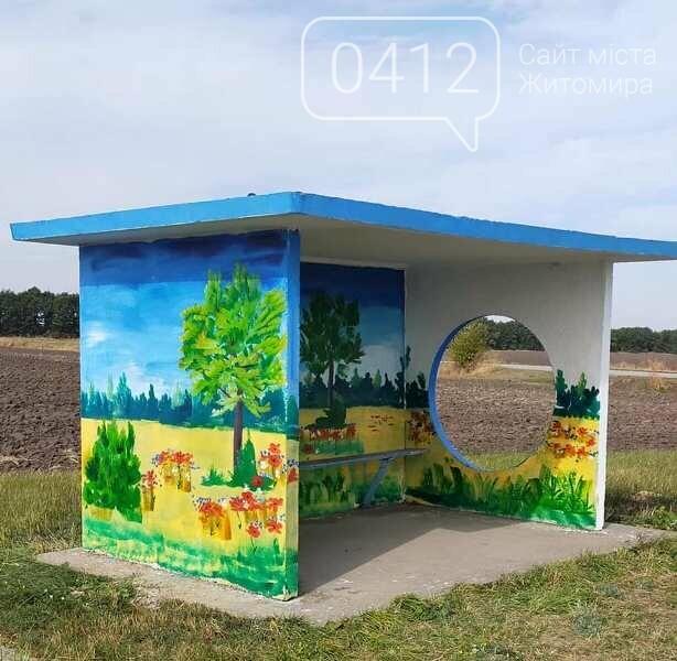 Автобусна зупинка на Житомирщині, немов галерея просто неба, фото-2