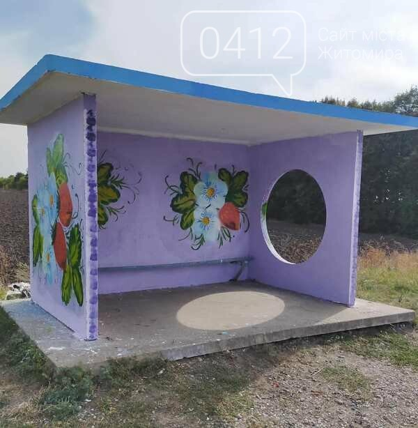 Автобусна зупинка на Житомирщині, немов галерея просто неба, фото-1